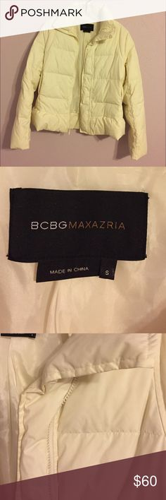 BCBG MAXAZRIA puffer jacket Eggshell/Cream puffer jacket. Ruffle at bottom. Nylon lining. Outer fabric is polyester with duck down feather filler. Plastic zip. Invisible metal zip pockets at waist. Extremely warm! Perfect for a cold night or a ski resort. Worn twice. BCBGMaxAzria Jackets & Coats Puffers