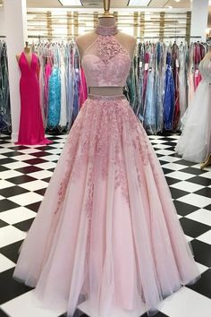 Customized Morden Evening Dress Long, Prom Dress Pink, Prom Dress Two Piece, Prom Dress Lace Prom Dress Two Piece, Two Piece Evening Dresses, Evening Dress Long, Lace Evening Dresses, Elegant Dresses, Evening Party, Evening Gowns, Two Piece Quinceanera Dresses, Two Piece Gown