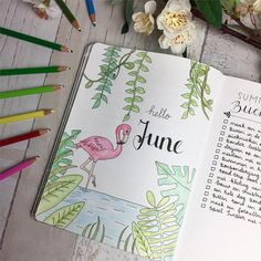 Flamingo Bullet Journal Layout & Verbreitung Source by Bullet Journal Spread, Bullet Journal Layout, Bullet Journal Inspiration, Bullet Journals, Bullet Journal Month Cover, Journal Covers, Journal Pages, Journal Ideas, Hello June