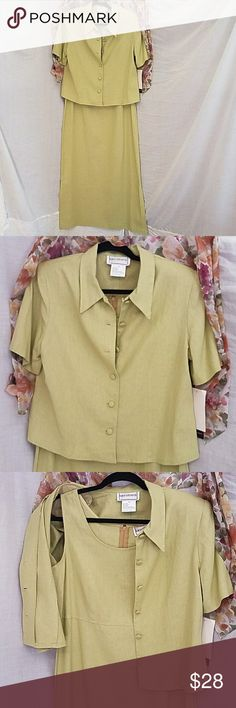 Karin Stevens linen two-piece dress size 8 NWT Karin Stevens green linen two-piece dress size 8. Beautiful avocado green linen dress with jacket size 8 jacket has opening in back as shown in pictures item is new with tags, you can wear with or without the jacket and you can probably wear the jacket with other outfits. 🌻 Karin Stevens Dresses Maxi