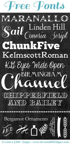 Download some super awesome (and totally free) chalkboard fonts perfect for those on trend chalkboard themed crafts and printables1