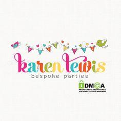 bunting logo design party logo design bird by stylemesweetdesign Business Logo, Business Card Design, Candy Logo, Gift Vector, Butterfly Logo, Event Logo, Bird Logos, Wedding Logos, Kids Logo