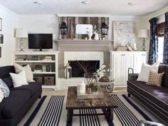 This formal lounge is contemporary, classy yet relaxed.  Its is very eclectic with formal sofas, stripped rug, industrial coffee table, rustic planked cladding above mantel.  interesting indeed.