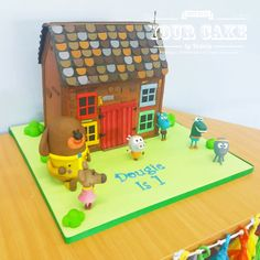 My son's birthday cake that I made for his Hey Duggee party! I'd never seen a clubhouse cake made and I wanted it to be big enough to feed his guests - which is was and more! Hey Duggee is our favourite CBeebies program. Themed Birthday Cakes, 2nd Birthday Parties, Baby Birthday, Birthday Ideas, Cake Decorating For Kids, House Cake, Puppy Party, 1st Birthdays, Princess Party