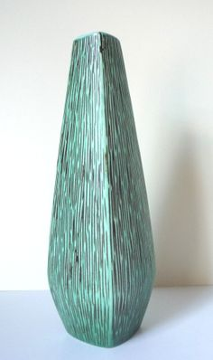 Stunning Vase Studio Pottery Large Retro Turquoise Modernist Mid Century Norwegian Geometric Vintage Collectable Gift Very Good Condition on Etsy, $52.00