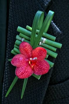 Exotic Boutonniere Of: Hot Pink Orchid, Green Bamboo Shoots, & Green Lily Grass^^^^ Cute Wedding Dress, Floral Wedding, Corsage Wedding, Wedding Bouquets, Corsage And Boutonniere, Boutonnieres, Orchid Boutonniere, Button Holes Wedding, Fleur Design
