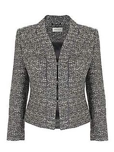 Grey multi fancy tweed crop jacket