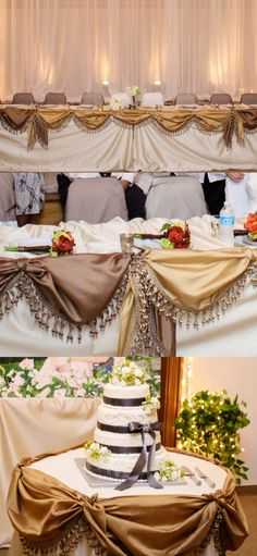 Event companies charge an arm and a leg for table coverings. To avoid the extra costs, go to a consignment store, look for drapes and/or valances in your colors, wash, iron, and drape over tables! The bridal table and cake table at my wedding cost less than $20 all together. The chair backs are white pillow cases with colored sheer fabric tied around the back.