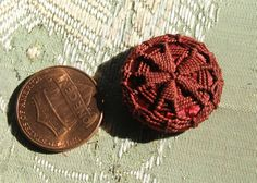 1 silk antique passementerie cloth button red by duchesstrading