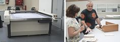 Biblioteca Nacional de España. Izquierda: la máquina que confecciona cajas. Derecha: Aida Nunes, restauradora de papel en los Museos de Lisboa, junto a Luís Crespo.