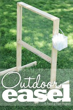 Free plans on how to make this super fun Outdoor Easel! Great for fingerpainting outside!