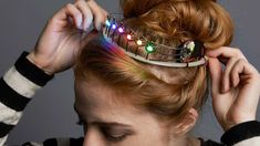 Sparkle n Halloween night with this Adafruit Neopixel Tiara tutorial. You can make a crown of light for prom or your birthday this year! A few free-wired NeoPixels make you the cyber-pageant queen....