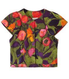 Crop Tops on #ShopBAZAAR - Delpozo Floral Cap Sleeve Cropped Jacket