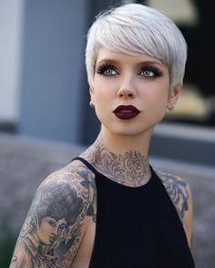 #whitehair #tatoos #beautiful