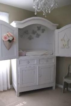 Repurposed Armoire makes a great baby changer.