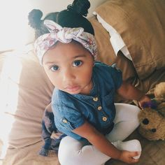 Cute Kids Sweet Adorable Mixed Race Black Beauty Pin Up Hair Style Mickey Mouse Buns