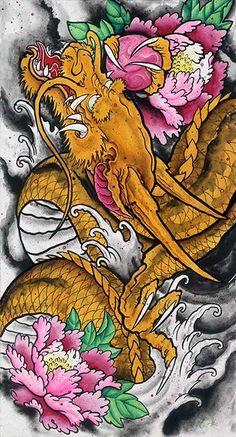 The Golden Dragon Clark North Traditional Asian Tattoo Artwork Print – moodswingsonthenet
