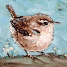 Wren painting, inch original impressionistic oil painting of a Wren. Bird paintings, paintings of birds Small Paintings, Animal Paintings, Bird Paintings, Watercolor Bird, Watercolor Paintings, Bird Painting Acrylic, Painting Flowers, Bel Art, Bird Drawings