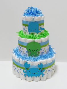 Blue And Green Under The Sea Diaper Cake by LanasDiaperCakeShop