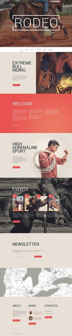 Private Practice Website Design Inspiration: Template 55563 - Rodeo Show Responsive WordPress Theme Layout Design, Web Layout, Theme Forest, Design Sites, Webdesign Layouts, News Website, Website Ideas, Site Vitrine, Ecommerce