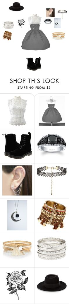 """""""It's raining on prom night"""" by missheru ❤ liked on Polyvore featuring Oscar de la Renta, Dr. Martens, Otis Jaxon, New Look, River Island, Charlotte Russe, Forever 21 and Maison Michel"""