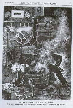 """""""Extraordinary suicide in Paris the man describes his sensations while slowly roasting to death"""" The Illustrated Police News #1897 #1890s"""