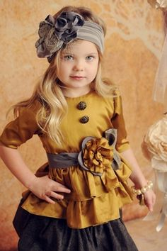 Persnickety Grey Rosette Belt with Gold Flower - omg another amazingly reasonably priced website with the most cute little girl clothes