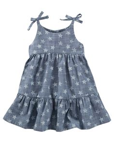 OshKosh In star-spangled chambray, she's ready for fireworks! This one's extra sweet with pieced tiers and tacked bows. Dresses Kids Girl, Toddler Girl Outfits, Toddler Fashion, Kids Outfits, Kids Fashion, Sleeves Designs For Dresses, Baby Dress Design, Kids Gown, Chambray Dress