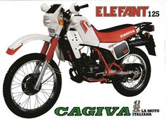 Storia di uno dei 125 da enduro di maggior successo della casa varesina: Cagiva Elefant Ducati, Yamaha, Motorcycle Posters, Old Motorcycles, Moto Guzzi, Dirt Bikes, Steyr, Mv Agusta, Vespa