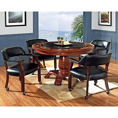 Steve Silver 5 Piece Tournament Dining Game Table Set with Caster Chairs — Cherry |