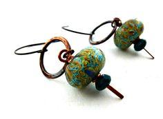 Lampwork glass earrings Hammered copper by McKeeJewelryDesigns