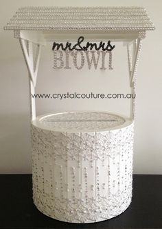 wishing well embellished with vintage lace swarovski crystals pearls perfect for