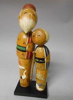 Pair of Japanese Vintage Wooden Kokeshi Doll 24cm 18cm Elderly Couple   eBay