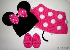 Custom crochet Minnie Mouse ears hat hot pink bow beanie diaper cover skirt booties set photo prop via Etsy