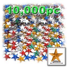 10,000 pc Acrylic foil Flatback Star shape Rhinestones 3mm (10ss) Mixed Colors