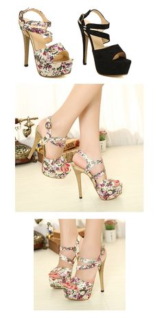 Stylish Floral Cloth Chain High Heeled Platform Pumps with Cross Straps ID 00043258 - Pumps : Paccony.com