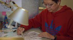 Au Yao Hsing / Ao You-xiang / 敖幼祥 dans son atelier de La maison des auteurs, Angoulême   - Photographie Alain François
