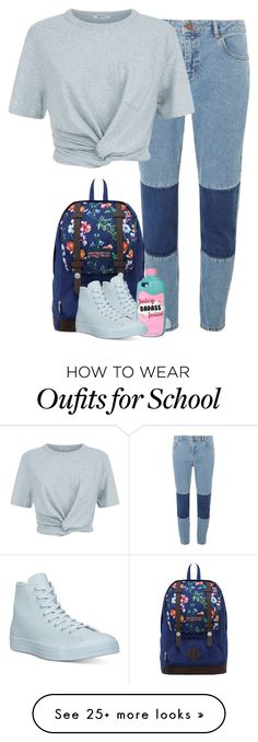 """""""Back to School Blues"""" by sofia-collins8 on Polyvore featuring Dorothy Perkins, T By Alexander Wang, JanSport and Converse"""
