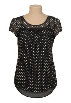 I love this top high-low chiffon dot print blouse with lace Beautiful Outfits, Cute Outfits, Printed Blouse, Fashion Outfits, Womens Fashion, Blouse Designs, Chiffon Tops, Style Me, Clothes For Women
