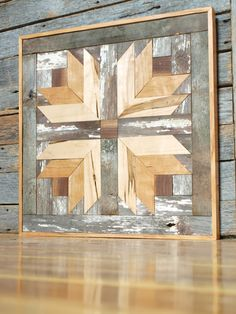 Your daily dose of Inspiration: rustic wooden quilt block cottage chic barn by IlluminativeHarvest Wooden Barn, Wooden Wall Art, Wood Art, Rustic Barn, Rustic Wood, Barn Quilt Designs, Barn Quilt Patterns, Art Patterns, Rustic Walls