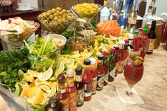 Now THIS is a bloody mary bar! Great brunch/party idea -- a Bloody Mary bar! Serve a variety of hot sauces, horseradish, olives, celery, etc. Bloody Mary Bar, Wedding Reception Food, Brunch Wedding, Post Wedding, Wedding Foods, Wedding Receptions, Afternoon Wedding, Wedding Breakfast, Wedding Menu