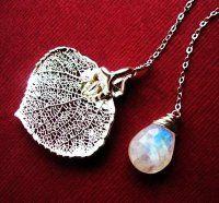 sliver leaf and stone necklace