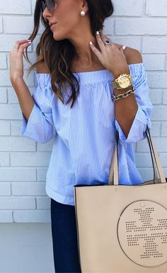 #spring #outfits Happy Sunday, Friends! Love This Off The Shoulder Top.. Such A Steal AND On Sale For Under $50!   // Blue Striped Off The Shoulder Blouse & Black Pants
