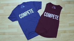 "Men's ""Competitor"" athletic t-shirt in storm and Women's ""Competitor"" maroon muscle tanktop."