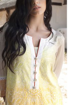 Buy Lemon Embroidered Cotton Lawn Dress by Firdous Carnival Collection 2015.