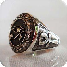 925 Sterling Silver Eye Of Horus Ring All Size Style Heavy Biker Harley Rocker Men's Jewelry #men'sjewelry
