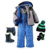 Grab these snow day essentials before they're gone! A 2-piece snowsuit and snow boots keep him warm while a hat and mitten set keeps him cute!
