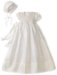 Hartstrings Baby-Girls Newborn Christening Silk Dress And Bonnet Set, White, 0-3 Months