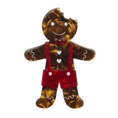 The Bite Before Christmas (Erstwilder Brown Resin Gingerbread Man Brooch) - Glitterally - 1
