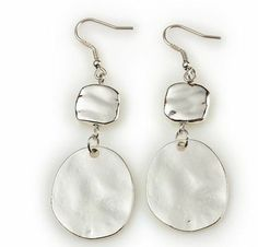 """Silver Drop Earrings- 2.25"""" These silver earrings have been polished and hammered to reflect light in eye-catching ways. They're especially attractive with the Blue Taffy necklace, but they're also simple enough to compliment any silver necklace. $20 #silverdrop #yourstylemialisia"""